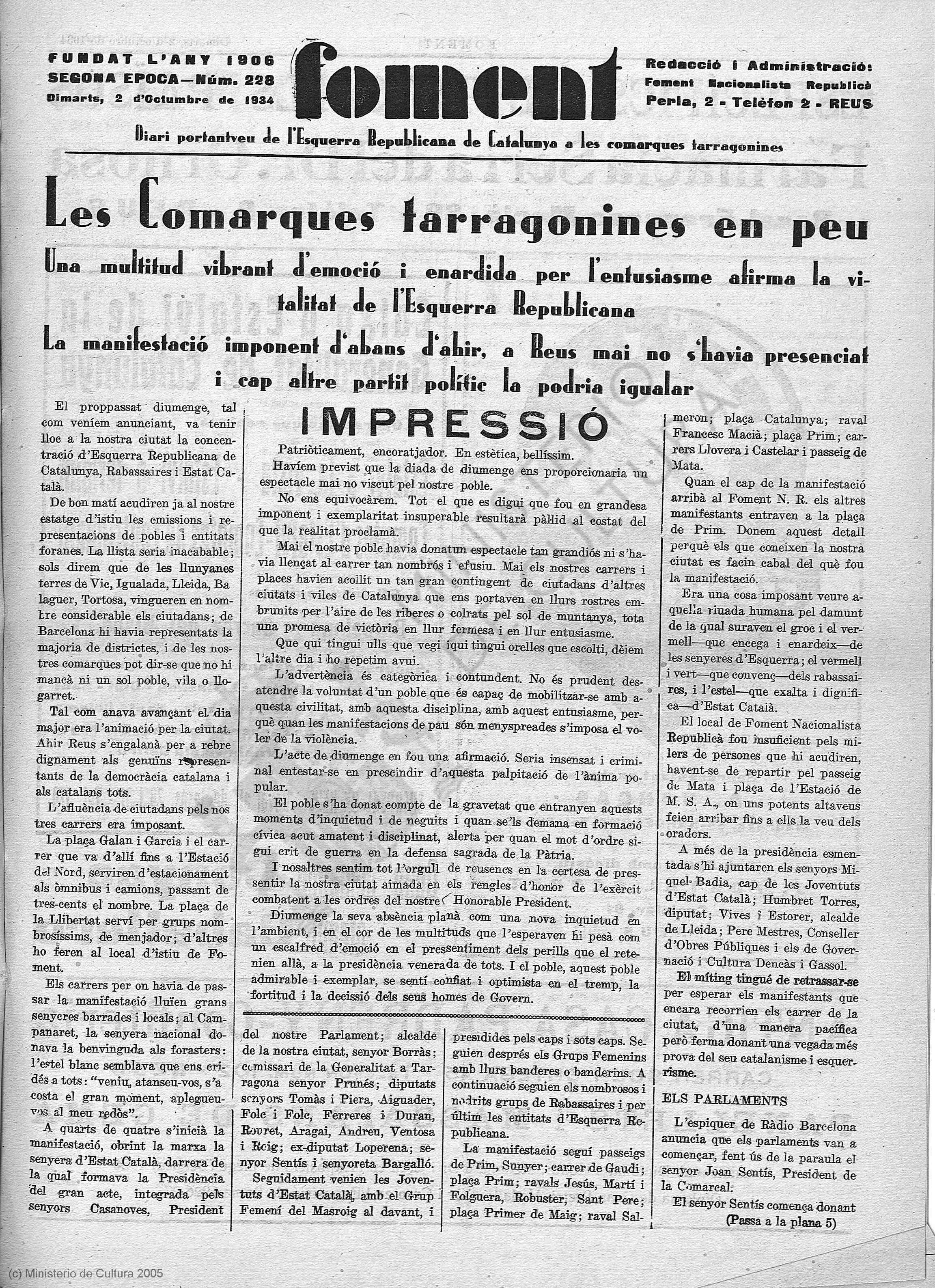 Manifestaciones previas a la proclamación del Estat català, Foment, 2 de octubre de 1934, p. 1.